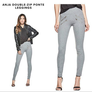 Guess Anja Gold Double-zip Ponte Leggings In Gray